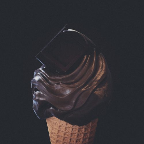 Photorealistic 3d illustration of dark chocolate flavored ice cream cone. food design and food digital still life