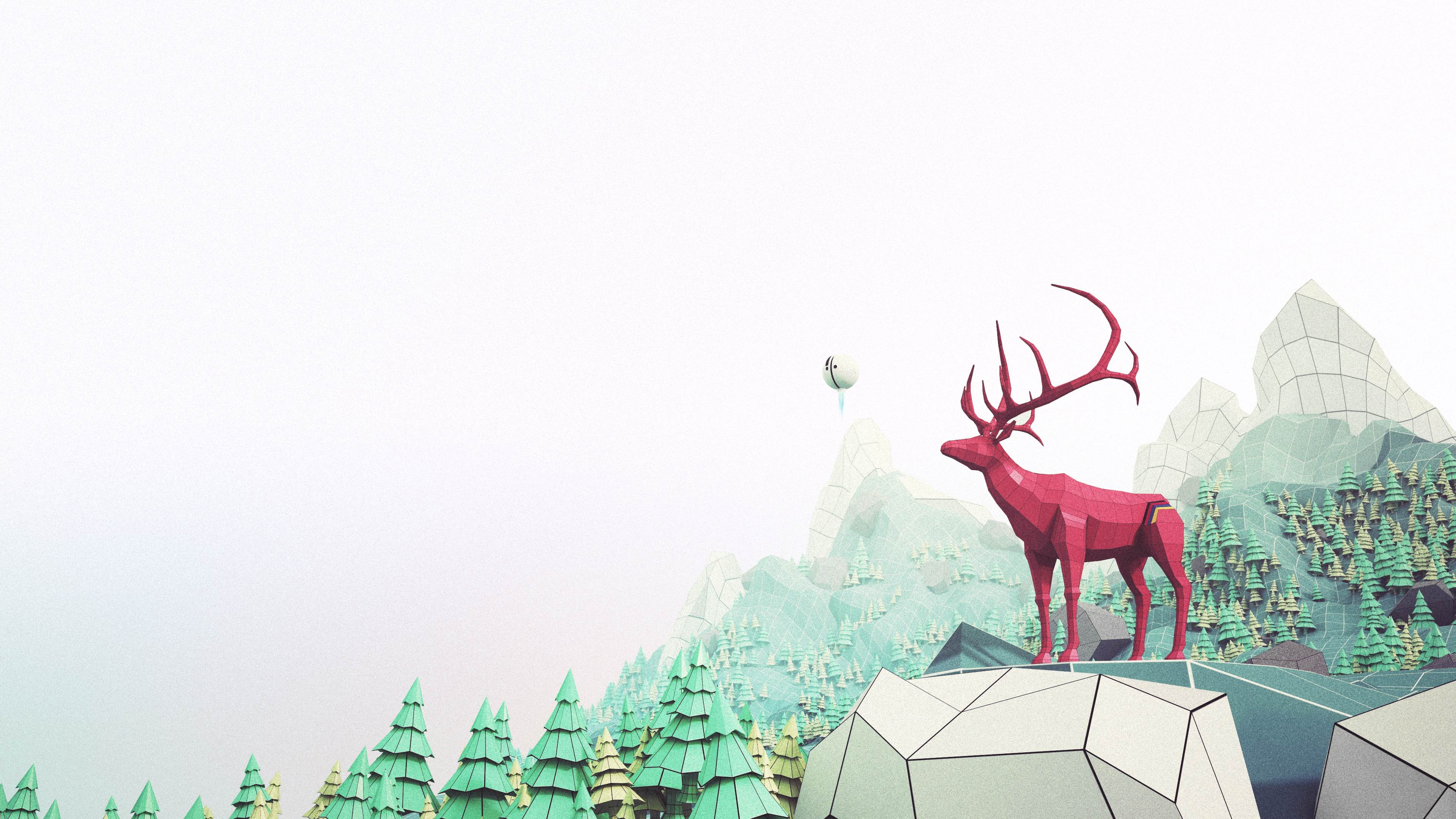 red elk low poly illustration in 3D not photorealistic
