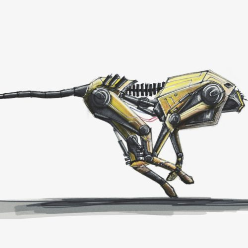 concept cheetah robot, digital painting