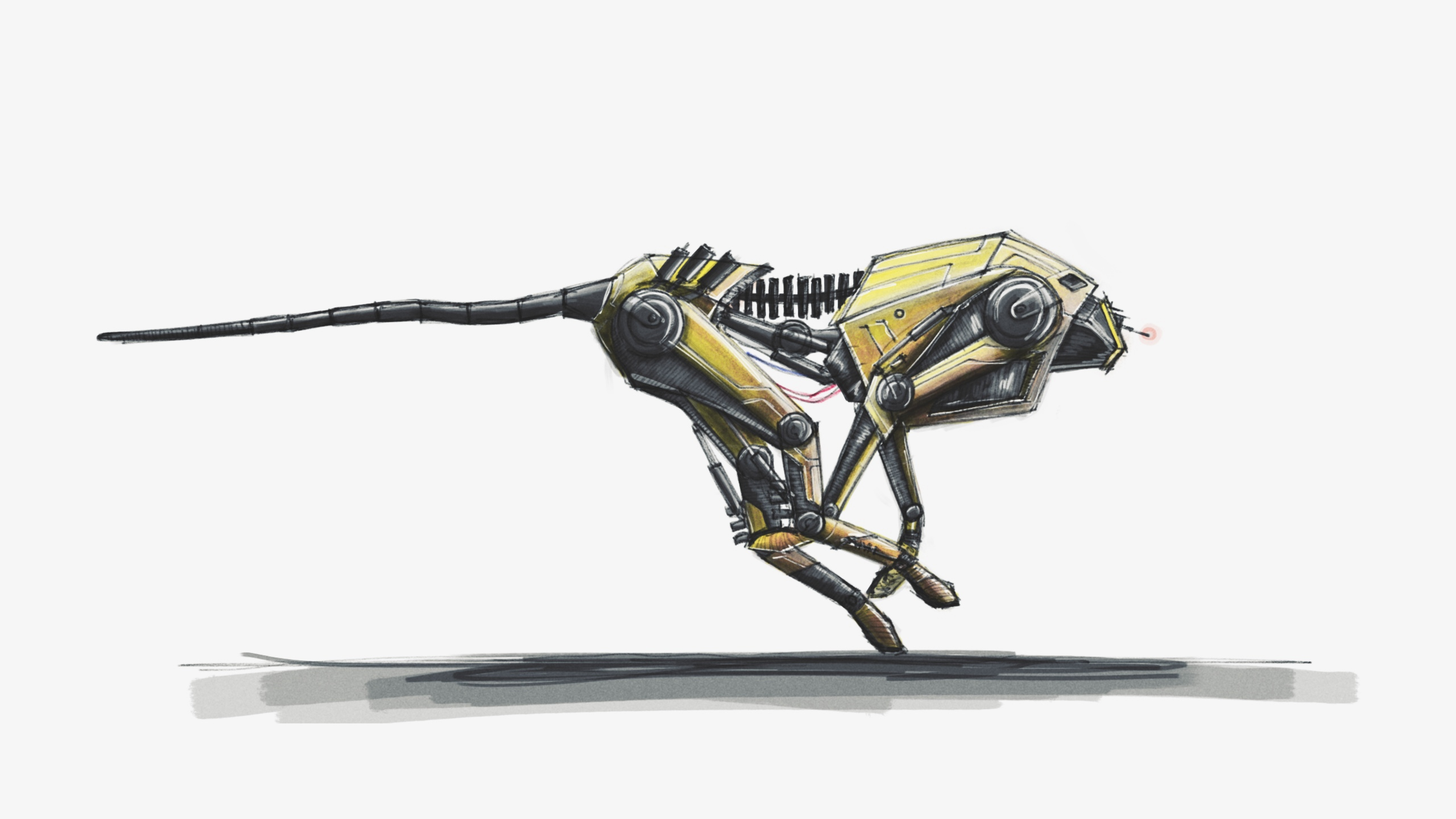 concept cheetah robot, digital painting