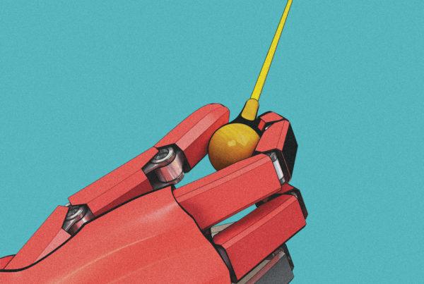 3d illustration not photorealistic, robotic hand of conductor. Event graphics for henrik schwarz at spoletofestival60