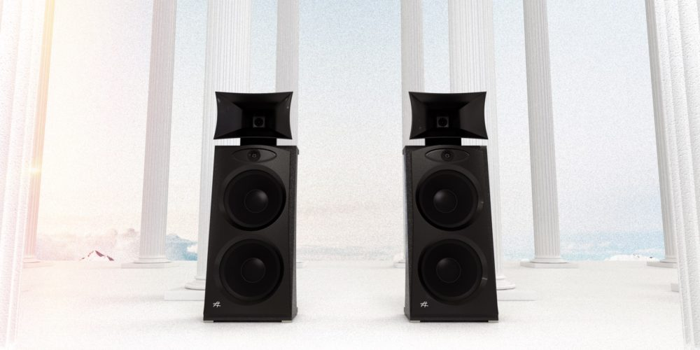 Commercial illustration in computer graphics 3d. Industrail still life for high fidelity crafted speakers.