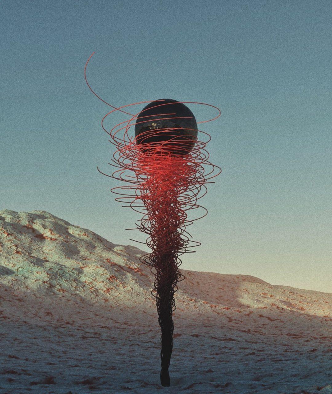 Metallic flower in ice desert