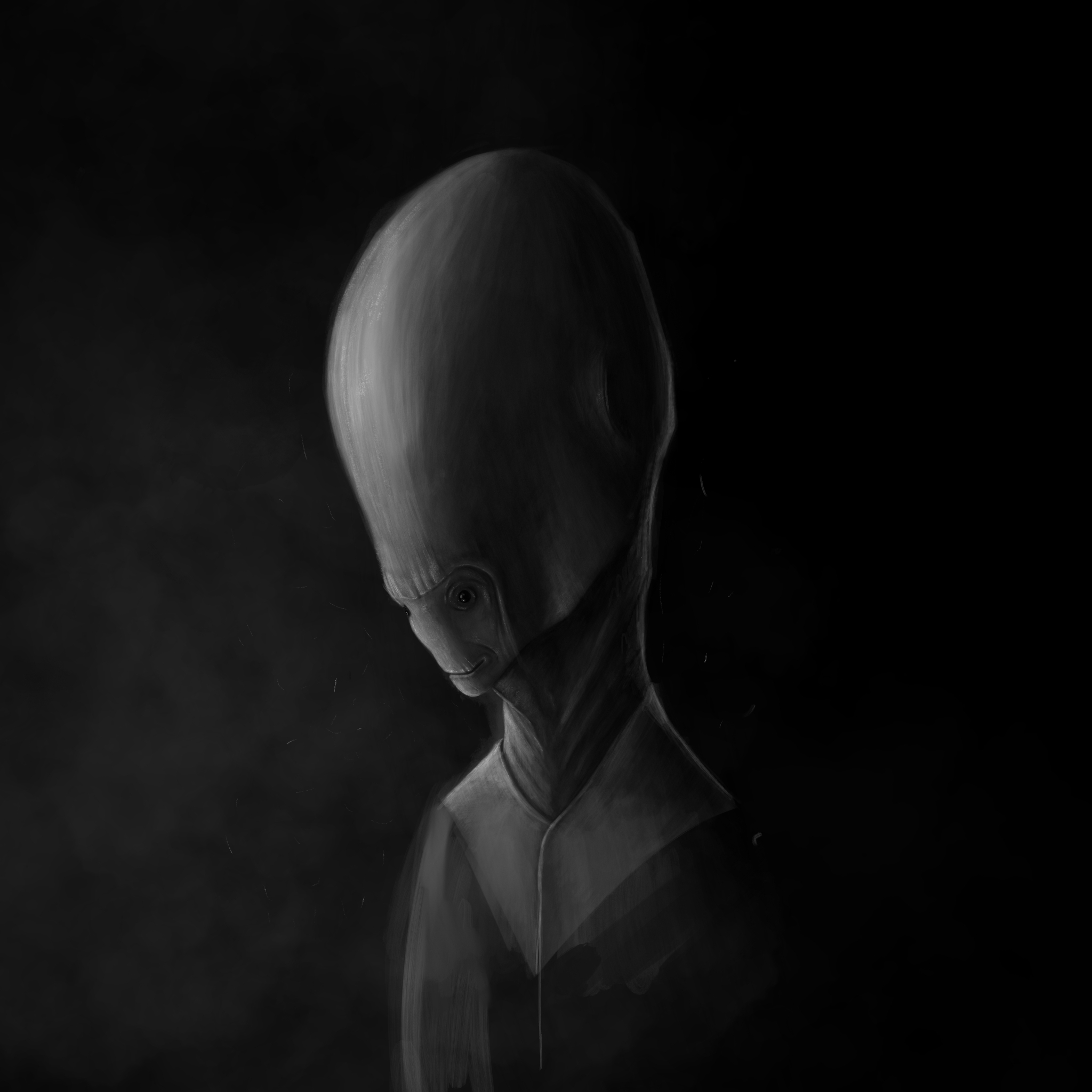 Digital painting, concept art illustration. Alien character with big head