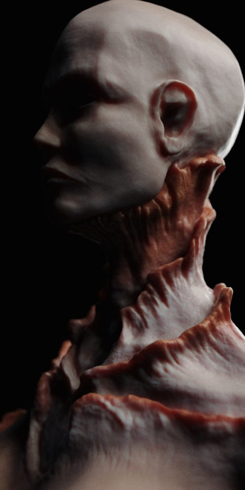 Concept design of humanoid creature, female anatomy exercise and skin texturing.